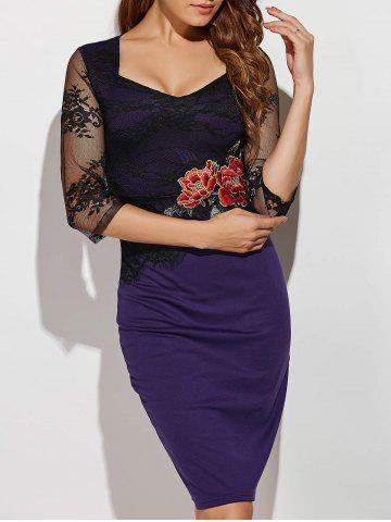 Best Rose Embroidered Lace Spliced Pencil Dress PURPLE 5XL