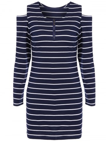 Online Cut Out Striped Zippered Casual Dress BLUE L