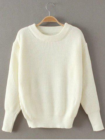 Outfit Casual Ribbed Pullover Sweater WHITE ONE SIZE