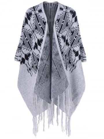 Fashion Fringed Bat Sleeve Asymmetrical Cardigan