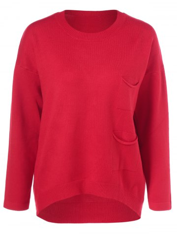 Affordable Loose Pocket Pullover Sweater