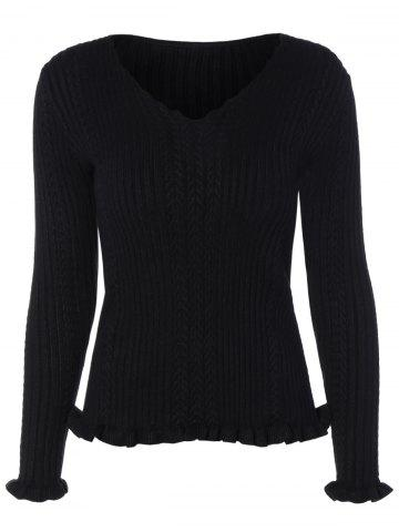 Shops V Neck Fitted Cable Knit Sweater