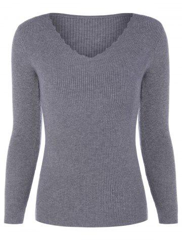 Sale V Neck Fitted Pullover Sweater