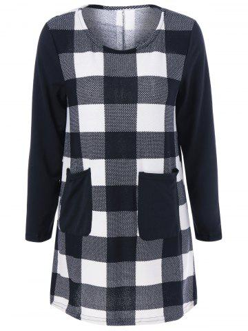 Cheap Plaid Pocket Mini Dress CHECKED L