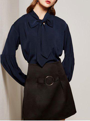 Sale Lantern Sleeve Solid Color Pussy Bow Shirt