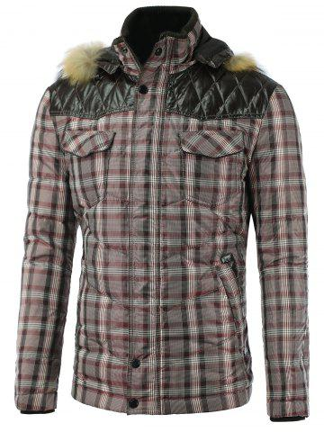 PU Spliced Checkered Hooded Quilted Jacket - Checked - M