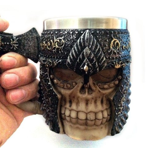 Fancy Personalized Double Wall Stainless Steel with Handle 3D Axe Skull Mug