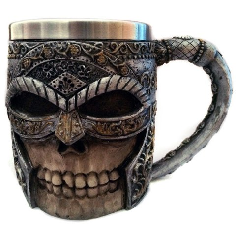 Trendy Halloween Double Wall Stainless Steel with Handle 3D Masked Rider Skull Mug