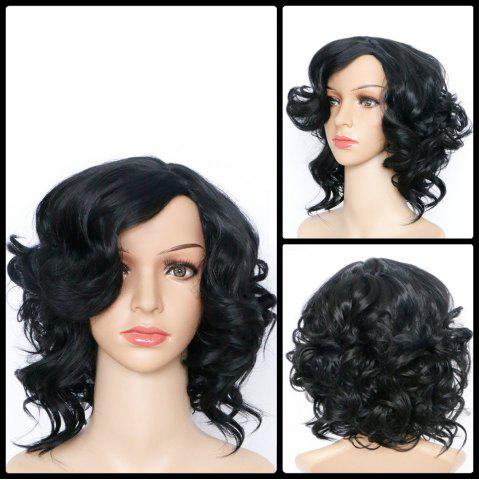 Best Short Side Bang Asymmetric Curly Synthetic Wig BLACK