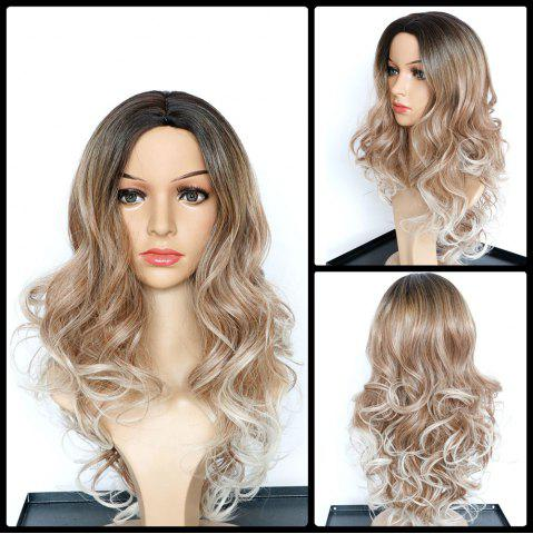 Affordable Faddish Long Wavy Middle Part Multi Color Synthetic Wig