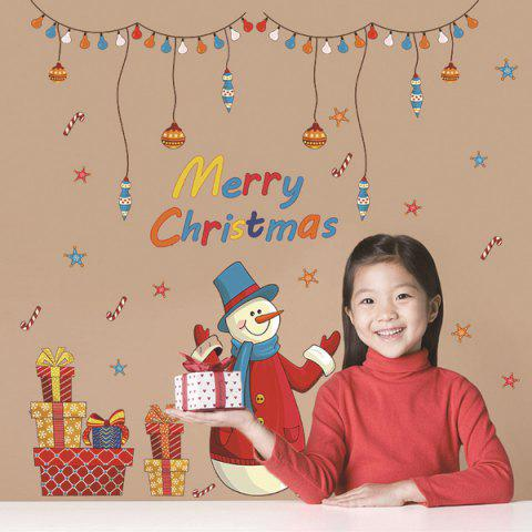 Online Merry Christmas Snowman Gifts Decorative Wall Art Stickers COLORFUL