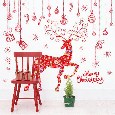 Chic Merry Christmas Red Milu Removable Glass Window Wall Stickers RED