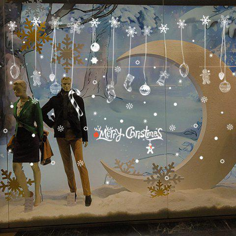 Discount Snow Christmas Removable Glass Window Wall Stickers WHITE