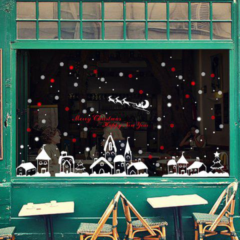 New Christmas Snow Town Removable Glass Window Wall Stickers RED/WHITE