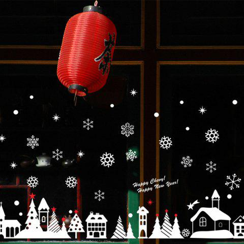 Store Christmas Snow Cabin Removable Glass Window Wall Stickers