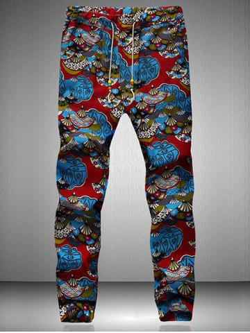 Drawstring Waist Retro Printed Jogger Pants - Blue And Red - L