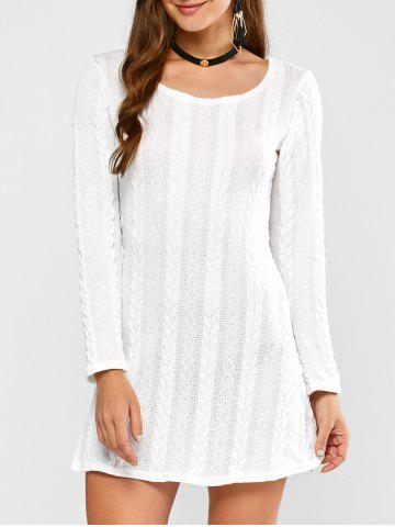 Tunic Cable Knit Mini Jumper Dress - White - L