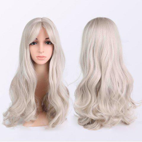 Fashion Long Fluffy Wavy Middle Parting Anime Wigs LIGHT GRAY