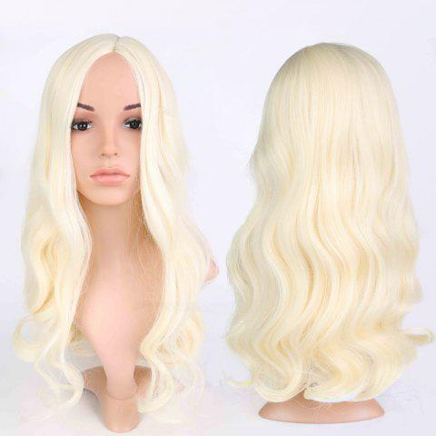 Cheap Long Side Parting Wavy Fluffy Anime Wigs BLONDE