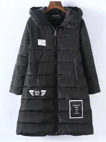 Fancy Plus Size Vertical Pockets Appliqued Hooded Quilted Coat