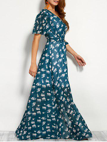 Hot Bohemian Plunge Neck Print Wrap Maxi Dress