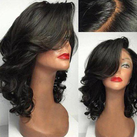 Discount Midium Side Parting Wavy Lace Front Human Hair Wig