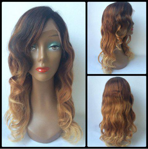 Chic Long Side Parting Wavy Ombre Lace Front Human Hair Wig