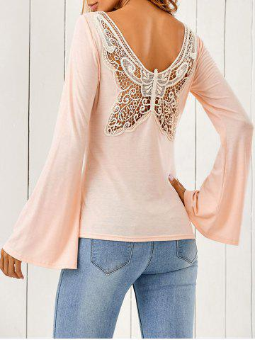 Best Butterfly Pattern Flare Sleeve T-Shirt SHALLOW PINK M