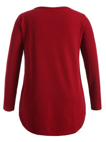 Shop Plus Size Knitwear with Arc Hem - 4XL WINE RED Mobile