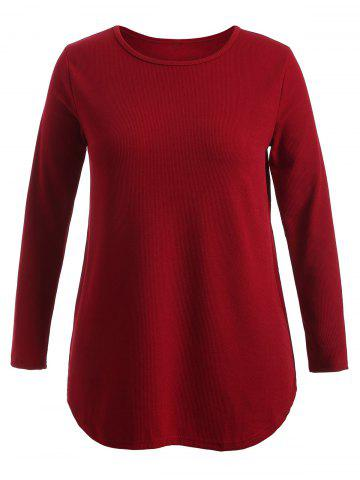 Unique Plus Size Knitwear with Arc Hem WINE RED 2XL