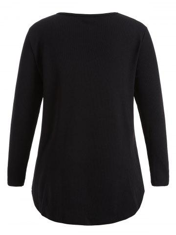 Sale Plus Size Knitwear with Arc Hem - 2XL BLACK Mobile