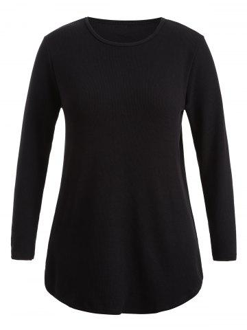 Shop Plus Size Knitwear with Arc Hem - 2XL BLACK Mobile