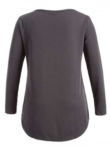 Affordable Plus Size Knitwear with Arc Hem - 5XL DEEP GRAY Mobile