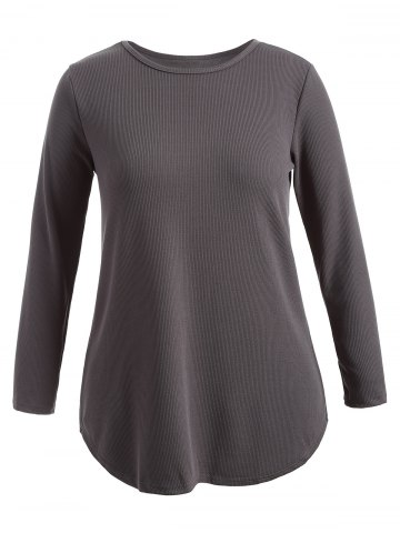 Cheap Plus Size Knitwear with Arc Hem - XL DEEP GRAY Mobile
