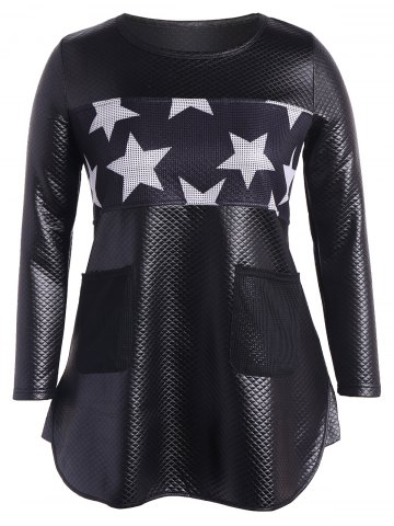 Sale Faux Leather Stars Panel Tunic Top BLACK 5XL