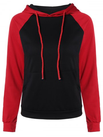 Trendy Color Block Raglan Sleeve Drawstring Hoodie