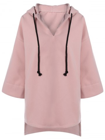 Outfits High Low Drawstring Hooded Coat PINK XL