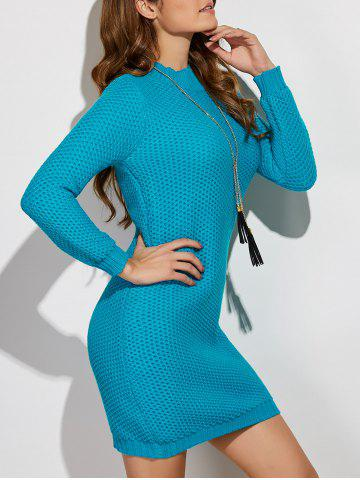 Shop Crochet Pattern Long Sleeve Sweater Dress LAKE BLUE ONE SIZE