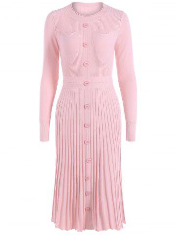 Unique Knitting Button Up Long Sleeve Dress