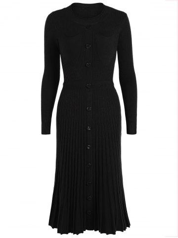 Best Knitting Button Up Long Sleeve Dress BLACK ONE SIZE