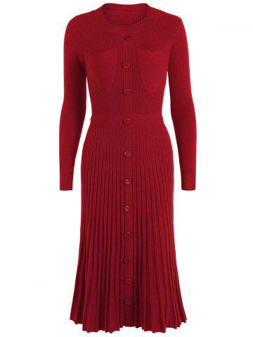 Cheap Knitting Button Up Long Sleeve Dress