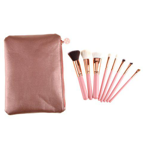 8 Pcs Goat Hair Makeup Brushes Set with Brush Bag - Pink - Eu Plug