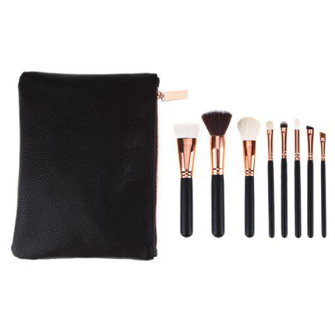 8 Pcs Goat Hair Face Eye Makeup Brushes Kit - Black - Eu Plug