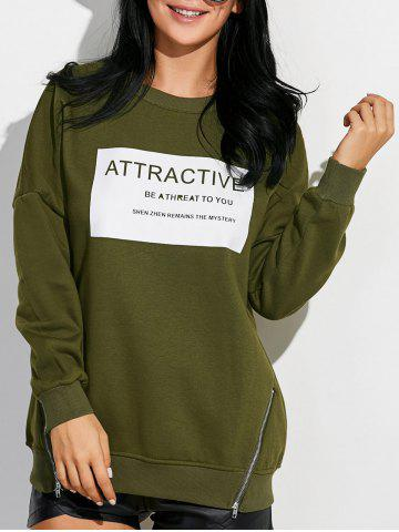 Buy Drop Shoulder Sweatshirt with Zippers ARMY GREEN XL