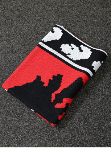 Store Originality Witch Pattern Knitted Rectangle Blanket - RED  Mobile