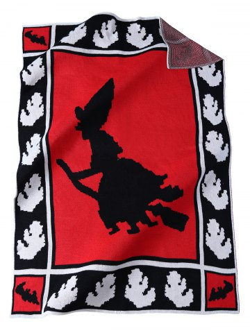 New Originality Witch Pattern Knitted Rectangle Blanket - RED  Mobile