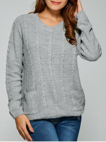 Affordable Comfy Double Pockets Cable Knit Sweater