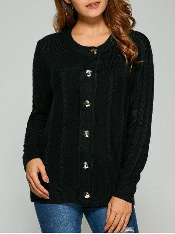 Best Cable Knit Cardigan With Buttons BLACK ONE SIZE