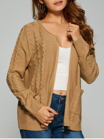 Cable Knit Cardigan With Pockets