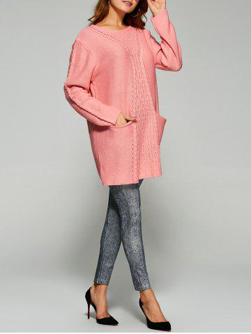 Chic Long Drop Shoulder Butterfly Cable Knit Sweater PINK ONE SIZE